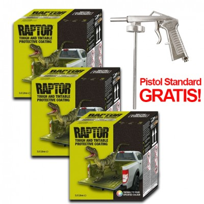 Pachet PROMO 3 x Kit Raptor Negru, 3,8 Litri + Pistol Gratis